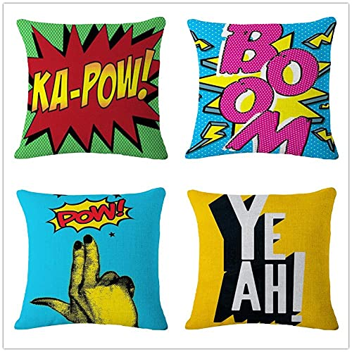 Fundas de Cojín Boom Pow Sí Algodón de Lino Suave Cuadrado Funda de Almohada Decoración Hogar Cushion Covers para Salón Sofá Coche Dormitorio Throw Pillow Case Juego de 4 L3404 60x60cm/24x24in