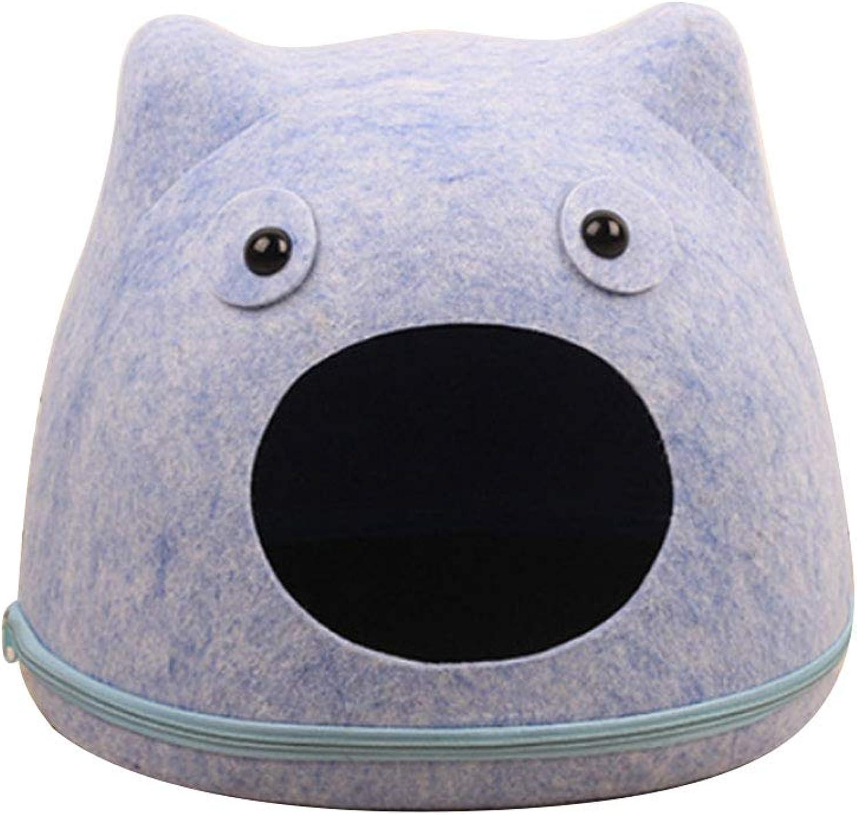 Hyue Cartoon Cat Face Felt Cat Litter Autumn and Winter Mantle Obliterable Washable Cotton Nest Felt Nest (color   bluee)