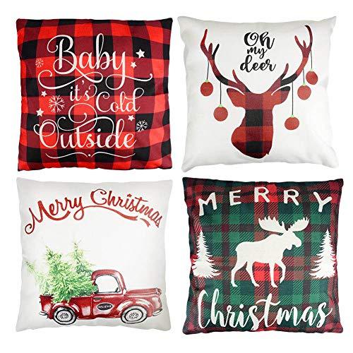 YAKAON 4 pcs Funda de Almohada de Árbol de Navidad de Algodón de Lino para Sofá Estar,Dormitorio o Coche Decorativo 45x45 cm Navidad
