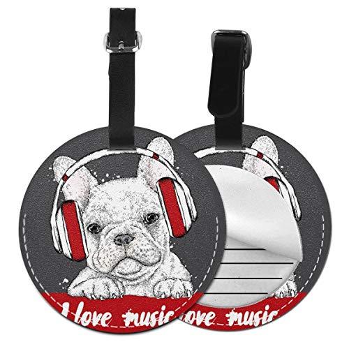 Puppy Loves Music - Juego de etiquetas para maleta de piel personalizada, accesorios de viaje, etiquetas redondas para equipaje Negro Negro 2 PC