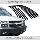 APS Compatible with 2001-2006 Chevy Avalanche with Body Cladding Black Billet Grille Grill Insert S18-H92356C