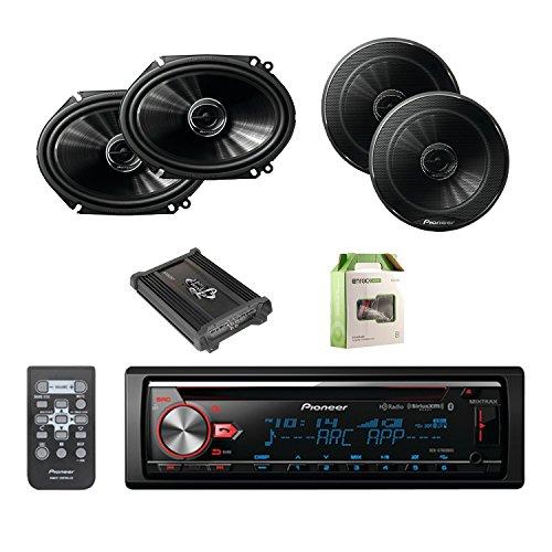 Pioneer CD Bluetooth Receiver with Enhanced Audio Functions W/Pioneer 6.5 Inch Audio Speakers Pair, Pioneer 6.8 Inch Car Speakers Pair, Lanzar Heritage Mosfet Amplifier & Enrock Amplifier Wiring Kit