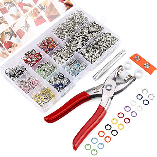 200 Sets Snap Fasteners Kit Tool, Yofuly 10 Colors 9.5mm Metal Snap Buttons Rings with Fastener Pliers Press Tool Kit for Sewing and Crafting