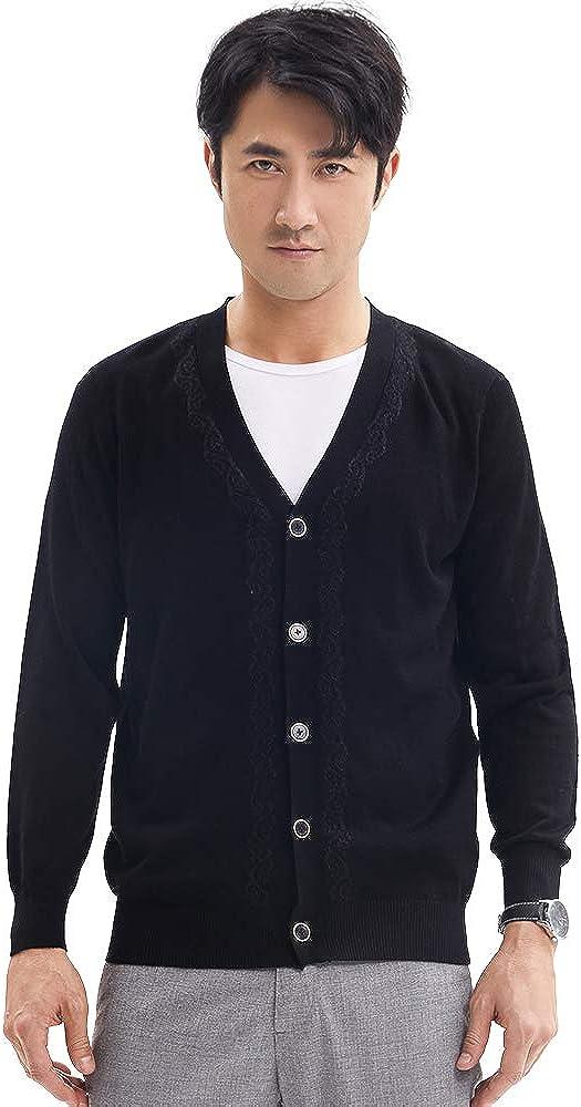 Zhili Men's Cardigan Button Closure Basic Sweater Cardigan