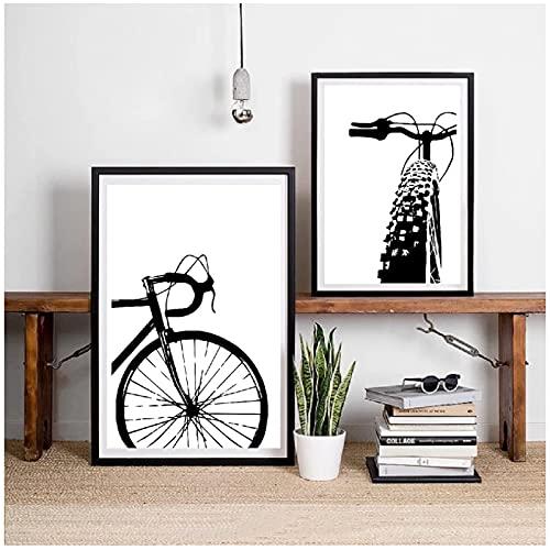 Quadri Moderni 23.6x31.5in (60x80cm) x2pcs Senza Cornice Nera Bicicletta Arte Ciclismo Tela Pittura Motivazionale Wall Art Immagini Bici Stampe e Poster Regalo Camera dei Bambini Decorazione Zappa