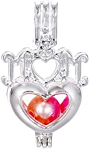 10pcs Silver Mom's Heart Mother's Day Pearl Cage Beads Cage Locket Pendant Jewelry Making-for Oyster Pearls, Essential Oil Diffuser, Fun Gifts (MOM Heart)