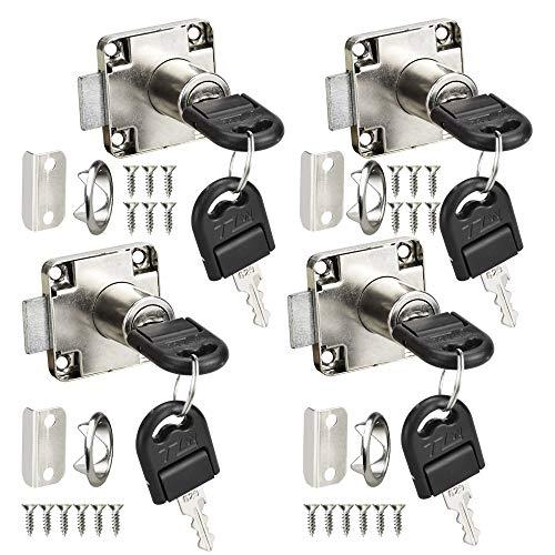 CODIRATO 4 PCS Cerradura para Muebles Cerradura de Cajón Duradera Cerradura de Pestillo Cilindro de Aleación de Zinc para Gabinetes, Cajones, Buzones (19 mm)