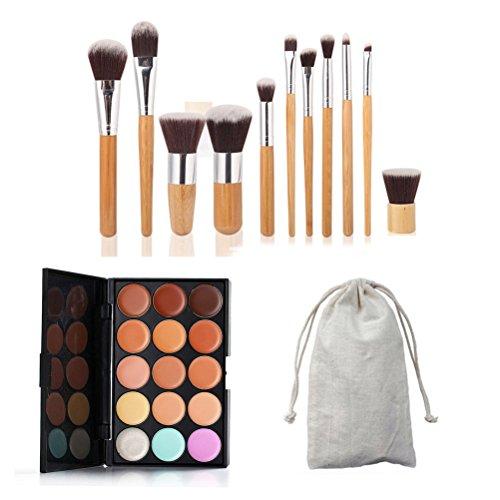 Palette de correcteur de maquillage de crème de visage de 15 couleurs avec 11 brosses en bambou de 11pcs
