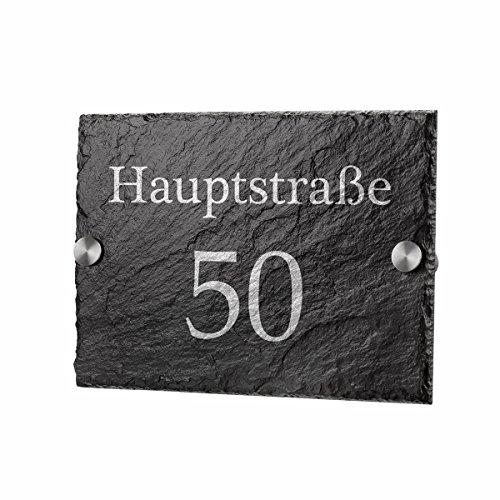 polar-effekt Schiefertafel Türschild Personalisiert mit Gravur - Hausnummerschild Geschenk für Familien zum Einzug - Schieferplatte 20x14cm - Motiv Straßenname und Hausnummer