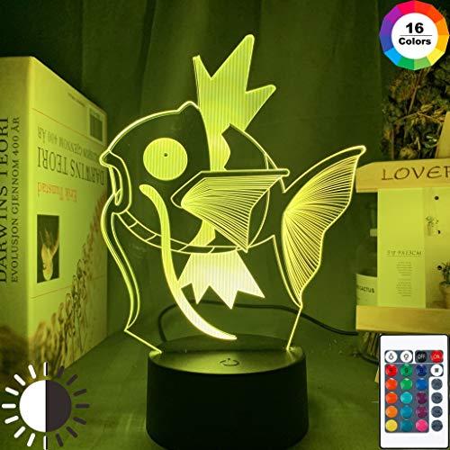 Pokemon Go Magikarp Premio Evento Cool Friends Lampada da tavolo a LED 3D da notte per bambini regalo di compleanno decorazione da comodino