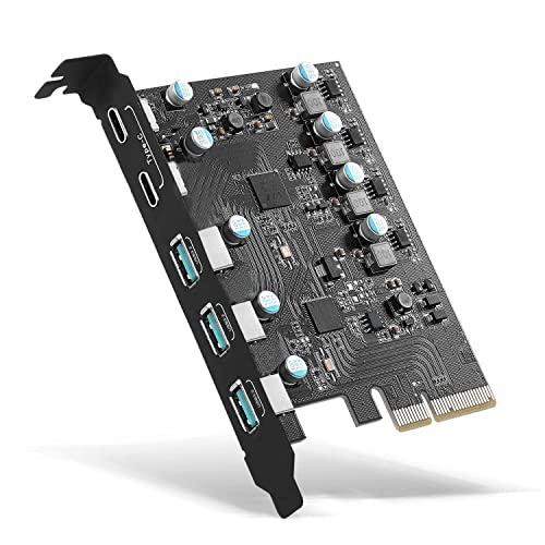 PCIe zu USB 3.2 Gen 2 Karte mit 20 Gbit/s Bandbreite 5-Port (3X USB-A -2X USB-C) USB c PC-Karte USB 3.2 Karte Interner USB3 Hub Converter PCIE Splitter für Desktop-PC Unterstützung Windows 10/8