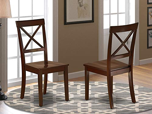 East West Furniture Boston Kitchen Dining Chair Wood Seat in Black and Cherry Finish (Set of 2), Mahogany