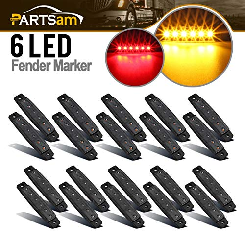 """Partsam 20Pcs 3.8"""" Thin line Led Marker Clearance Lights Amber/Red Smoked Surface Mount Waterproof Led Marker Lights for Trucks, Cab RV Marker Lights, Marine Led Utility Strip Light for Boats 12 Volts"""
