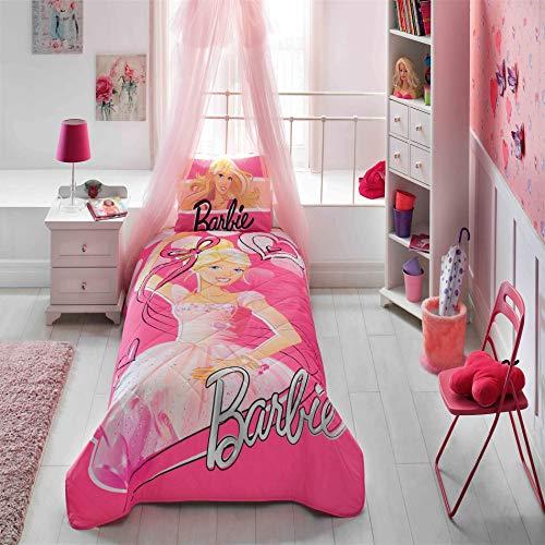 TAC 100% katoen eensize 2 stuks gewatteerde sprei set met licentie tekens voor kinderen en tieners - Barbie Ballerina