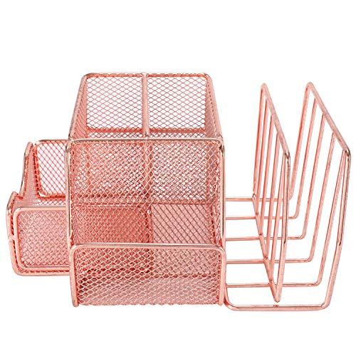 Superbpag Mesh Office Supplies Desk Organizer Caddy and Storage with Drawer and 2 Letter Sorter, Desktop Mesh Collection with Pen Holder, Rose Gold