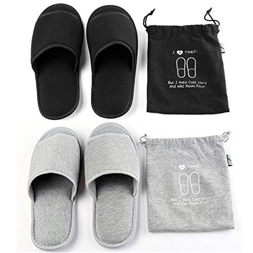 Pantofole da Viaggio Portatili Pieghevoli Open Toe Sandali Non USA e Getta Spa Hotel Pantofole Lavabili in Cotone per la Stanza degli Ospiti Scarpe da Bagno (Nero + Grigio)