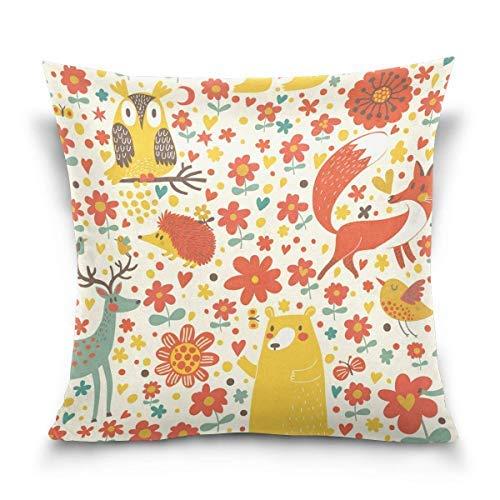 Funda de almohada decorativa de Chion funda de almohada cuadrada, diseño de animales del bosque de otoño, zorro ciervos, erizo, búho, pájaro, sofá cama (45,7 x 45,7 cm)