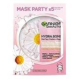 Garnier Skin Active Mask Tissu Calmante x 5 unidades, Mascarilla de Tejido Hidratante Matificante con Ácido Hialurónico y Camomila para pieles secas y sensible