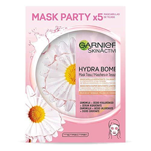 Garnier Skin Active, Tissu Mask Calmante, Mascarilla Facial de Tejido con Camomila y Ácido Hialurónico para Pieles Secas y Sensibles, Suaviza y Alivia la Piel, 5 Unidades