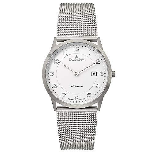 DUGENA Herren-Armbanduhr Modena XL Titan, Quarz, Titangehäuse, gehärtetes Mineralglas, Edelstahl-Milanaisearmband, Schiebeverschluß, 3 bar (weiß)