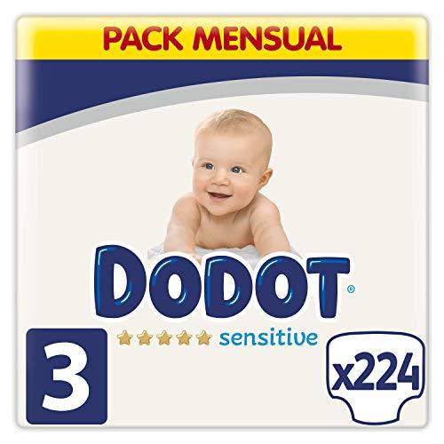 Dodot Pañales Bebé Sensitive Talla 3 (6-10 kg), 224 Pañales, Óptima Protección de la Piel de Dodot, Pack Mensual