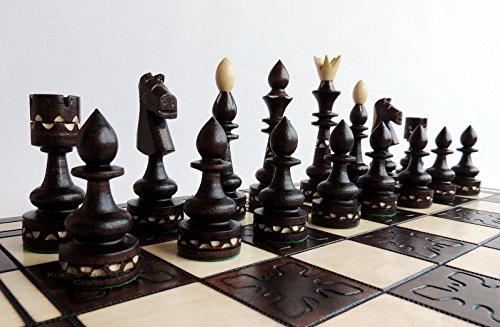 Jeu d'échecs en bois indien 54 cm / 21 pouces, bel échiquier et échiquiers artisanaux