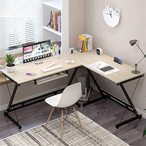 Madera Forma de L Mesas de Oficina de Esquina En forma de L Escritorio esquinero Gaming PC de escritorio Tabla Oficina Escritorio de la computadora con la estación de trabajo portátil de madera Negro