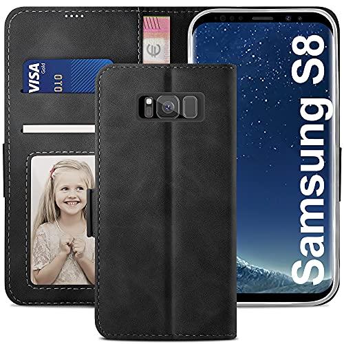 YATWIN Cover per Samsung Galaxy S8, Flip Custodia Portafoglio in Pelle Premium Slot, Interno TPU Antiurto, Supporto Stand, Stile Libro e Chiusura Magnetica per Samsung Galaxy S8 Case Caso - Nero