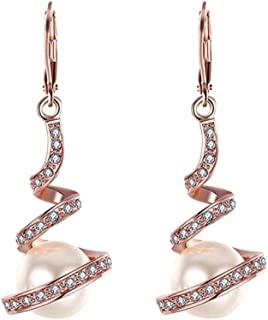Swyss Gold Plated Imitation Pearl Spiral Design Zircon Hoop Earring for Women Dangling Chic Jewelry Accessories (Rose Gold)