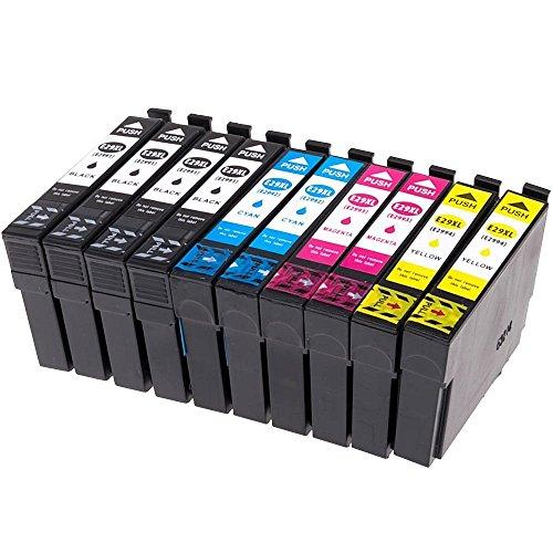10x Cartuchos de Tinta con nuevo chip software Epson 29XL compatibles con Epson Expression XP-332 XP-335 XP-235 XP-432 XP-435 XP-245 XP-247 XP-342 XP-345 XP-442 XP-445 XP-330 XP-430