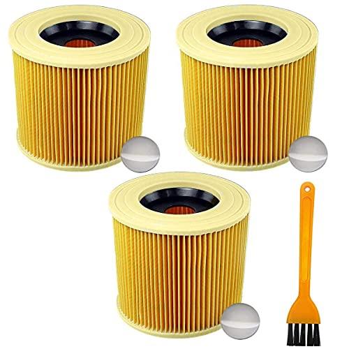Queta 3Pcs Filtros de Reemplazo para Aspiradora Kärcher WD2 WD3 WD3.200 WD3.300 Filtro Lavable para Kärcher a2004 a2054 a2204 a2554 a 2604 a2654 Aspiradoras en Húmedo y Seco (A)