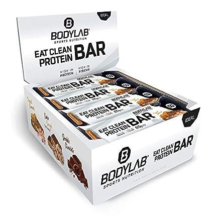 Barrita Eat Clean de Bodylab24 12 x 65 g | Barrita de proteína baja en azúcar con fibra | 20 g de proteína/barrita | Deliciosa barrita para muscular, entrenar y llevar | Cacahuete y caramelo