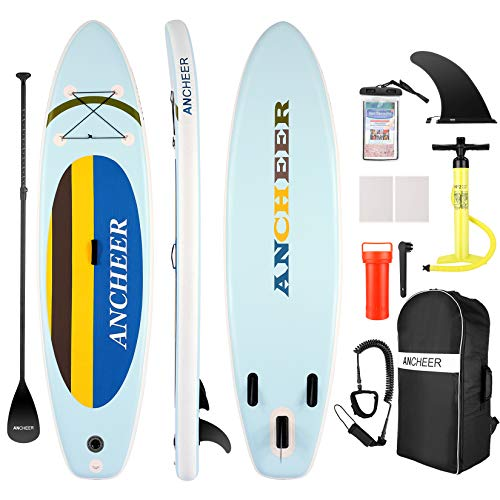 ANCHEER iSUP Inflatable Stand Up Paddle Board 10', Non-Slip Deck, Military Grade PVC iSUP Boards Complete Kit Package Plus Adjustable Paddle, Coil Leash, Hand Pump Perfect for Yoga (Yellow)