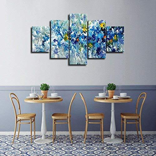 Leinwandbild, 5-teilig Blaue gelbe und weiße Blumen abstrakt modernes Giclée-Design, gerahmt, für Wohnzimmer, Fotoprints auf Leinwand