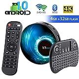 Android 10.0 TV Box 【4G + 32G】 con Mini Teclado teléfonos inalámbricos RK3318 Quad-Core 64bit Android TV Box, Wi-Fi-Dual 5G / 2.4G, BT 4.0, 4K * 2K UHD H.265, USB 3.0 Smart TV Box