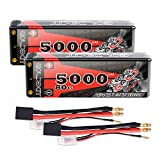 GOLDBAT 2S 7.4V 80C 5000mAh Lipo Battery Hard Case with TRX Plug for RC Car Buggy Truck Boat RC Truck Traxxas LOSI Associated Quadcopter HPI (2 Packs)