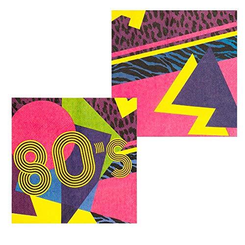 Boland 44608 - Papierservietten 80´s, 12 Stück, Größe 33 x 33 cm, 80er Jahre, neon, Partygeschirr, Garten Party, Geburtstag, Fingerfood, Partyzubehör, Bad Taste Party, Überraschungsparty