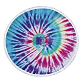 Tie Dye Round Beach Towel Microfiber Shawl Beach Mat Picnic Throw for Travel Pool Swimming Bath Camping Yoga