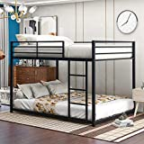 Merax Metal, Heavy Duty Low Bunk Bed with Safety Guard Rails and Ladder for Kids, Teens, Adults, No Box Spring Needed, Full Over Full, Black