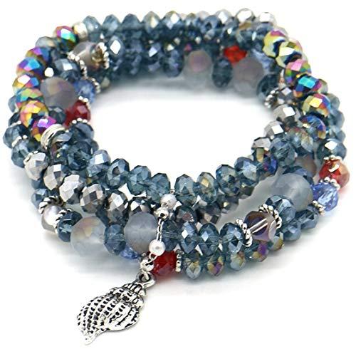 Dielay Dames Armband 4 Lagen Setje Armbanden Facet Geslepen Glaskralen Blauw