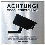 DSGVO+BDSG Datenschutz-Schild ALU-Info-Aushang Video-Überwachung 15x15cm Aluminium gebürstet