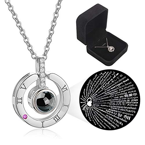 Love Memories Clavicle Necklace 100 Languages I Love You Round Projection Pendant Necklace...