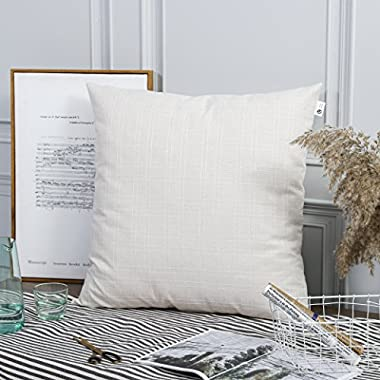 Kevin Textile Checkered Plaid Weaving Cotton Linen Decorative Square Throw Cushion Covers Pillowcase for Living Room, 2 Packs, 26x26 Inch (66 x 66cm), Light Beige