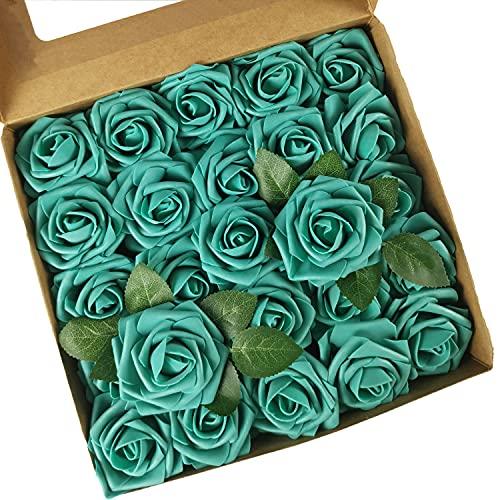 ACDE Fiori Artificiali, Rosa Artificiali 25 Pezzi Rose Finte Schiuma Aspetto...