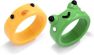 COLORFUL BLING Lovely Smiling Frog and Chick Ring, Cute Green Frog Yellow Chickabiddy Resin Rings for Women Girls Stacking...