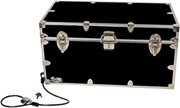 C&N Footlockers Undergrad Trunk with Anchoring Cable Lock - College Dorm or Summer Camp Large Storage Chest - 32 x 18 x 16.5 Inches