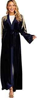 Abaya for Women丨Women Dress New Look丨Women Ethnic Robes Abaya Islamic Muslim Middle East Maxi Dress Bandage Kaftan Jilbab Islamic Robe Maxi Dress