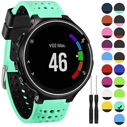 GVangel Armband kompatibel mit Garmin Forerunner 235, weiches Silikon Ersatz-Uhrenarmband für 220/230/235/620/630/735XT/235 Lite Smart Watch für Damen und Herren, Mint Green-Black