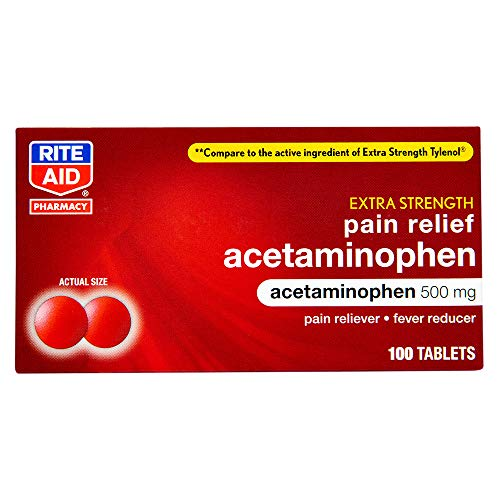 Rite Aid Extra Strength Acetaminophen Easy Tabs Tablets, 500 mg - 100 Count | Pain Reliever & Fever Reducer | Migraine Relief Products | Joint Pain Relief | Muscle Pain Relief | Menstrual Pain Relief