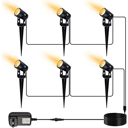 VOLISUN Spotlights Outdoor Landscape Lighing with 98ft Cable and Transformer IP65 Waterproof 12V Low Voltage with Stakes Landscape Lighting for Outdoor Garden Yard,Warm White(6-in-1)